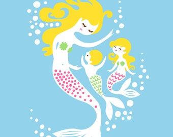 "8X10"" mermaid mother with boy and girl giclee print on fine art paper. sky blue, green, pink, blonde."