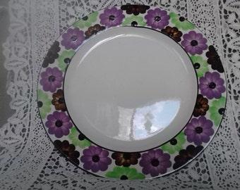 Vintage 1960s Flower Power Hand Painted German Ceramic Salad Plate