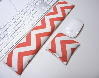 Computer Keyboard Pad and Optional Mouse Wrist Rest Set in Coral Chevron - Wrist Support