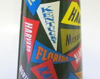 College Pennant Tin Metal Megaphone Ohio Art Toy Rare Vintage Collectible Football Noise Maker