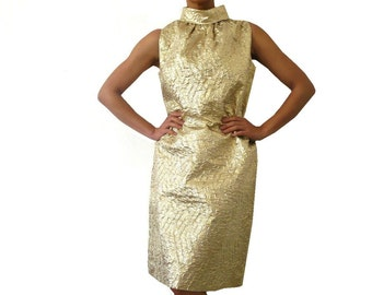 French Vintage 60s Gold Dress