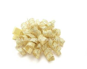 """Gold Korker Clip, 2"""" Metallic Korker Bow, Holiday Mini Korker Barrette, Metallic Gold Corker Clip Baby Korker, Baby Girl, Toddler Girl"""