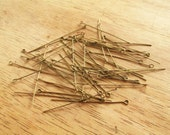 50 Eye Pins - Antique Bronze Brass - 0.7mm x 50mm -  Jewelry Making Supplies