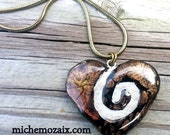 Copper and Black Crackled Clay Heart Necklace REVERSIBLE Spiral Tile