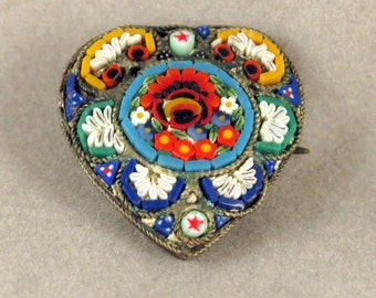 Vintage Micro-Mosaic Heart Flower Pin/Brooch Italy