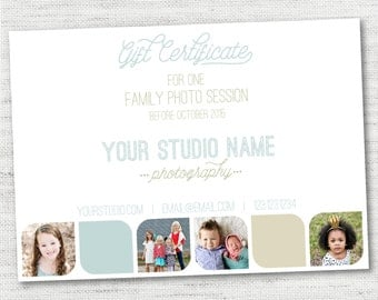 INSTANT DOWNLOAD Simple Modern Photography Gift Certificate Template