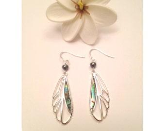 Paua Shell Pulelehua and Pearl Earrings