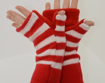 Fingerless Mitts in Candy Cane Stripes - Red and White - Recycled Wool - Fleece Lined