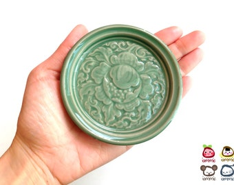 Ceramic Saucer, Ceramic Plate, green, ceramic dish, flower, thai, thailand, bali, mini, small, decoration, luxury, luxurious, embossed