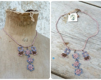 Fleurettes  Handmade in France seed beads / beaded/beadwork necklace
