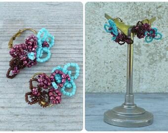 Art nouveaux Handmade in France 3 flower earrings on leverbacks
