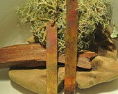 Copper Patina Long Rectangle Metal Earrings // Long Boho Earrings // Heat Patina // Gypsy Chic // Edgy Earrings // Gifts For Her // Earrings