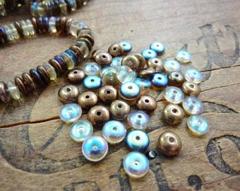Glass Bead Disc Spacer Bead Bronze and Crystal AB (48)