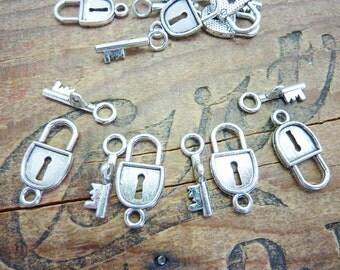 Antiqued Silver Lock plus Key Charm (4) P63