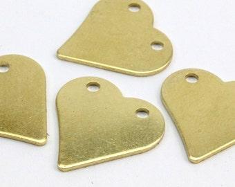 Heart Brass Pendant, 8 Raw Brass Heart Stamping Blanks (17x17x0.80mm) D191--y350