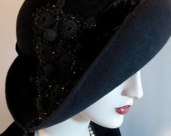 Asymmetrical Cloche with Victorian Beadwork