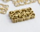 Vintage Style Brass Rectangle Filigree Findings 25mm (10)