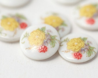Vintage Japanese Porcelain Cabochons Yellow Flower Green Purple Flower Cabs 10mm (8)