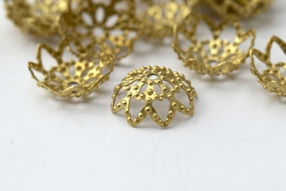 Raw Brass Filigree Flower Dome Bead Caps 10mm (20)