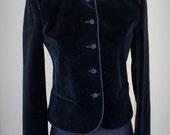 The Villager Asian Style Black Velvet Blazer Jacket size 8