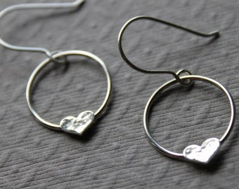 Sterling silver earrings - heart Circle Earrings , circles hearts Silver, Simple, Handmade