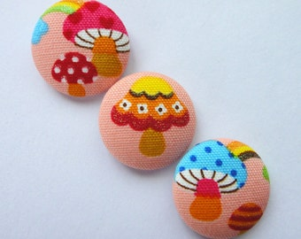 Cute Pink Glittery Mushrooms With Clouds & Rainbows Japanese Cotton Fabric Covered Buttons For Sewing - 27mm - Set of 3