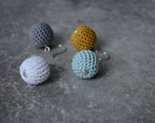 4 mismatched simple crochet bead everyday earrings, in grey, white, pale blue and mustard color,with handmade sterling silver ear hooks