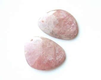 Huge Rose Cut Pink Sapphire Briolette Pair - Front Drilled