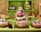 Easter Whimsical Cake - Dollhouse Miniature Food Handmade