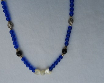 Mother of Pearl Triple Moon Goddess Symbol Necklace - OOAK Pagan Wiccan