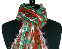 All Fringe Scarf Knotted Scarves - Christmas Scarf I - Red, White and Green