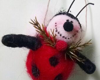 Ladybug Wool Wrapped/Needle Felted Ornament