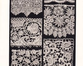 1903 Lace Print - Vintage Antique Home Decor Book Plate Art Illustration for Framing 100 Years Old
