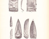 1882 Native American Indian Print - Innuit Mask - Antique Art Illustration Book Plate History Archaeology Ethnology 100 Years Old