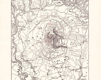 1894 Map Mount Etna Italy - Vintage Antique Map Great for Framing 100 Years Old