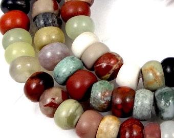 "6x4mm Natural Multi Stone Jasper Jade Rondelle Beads 16"" (e7327)"