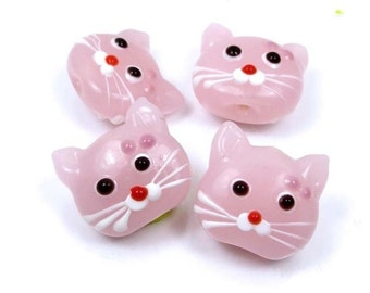 Lampwork Handmade Glass Pink Cat Head Beads (4) (L1095)