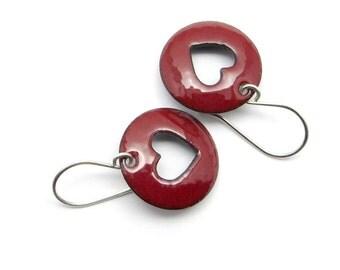 Red Heart Earrings - Red Enamel Earrings - Dark Red - Enamel Heart Earrings