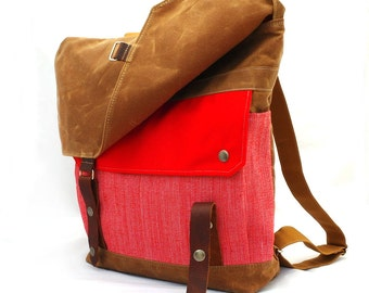 Waxed Canvas Backpack / Summer Carnival Recycled Wool & Oiled Leather