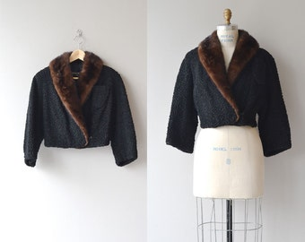 Broadtail cropped jacket | 1950s persian lamb jacket • vintage 50s fur coat