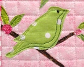 mini wall quilt-  green bird on a leafy branch against pink background- free shipping to USA - Ready to Ship