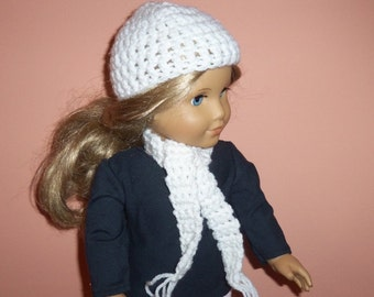 American Made, Girl Doll Hat, Crochet Scarf, White, Accessories, 18 inch Doll Clothes