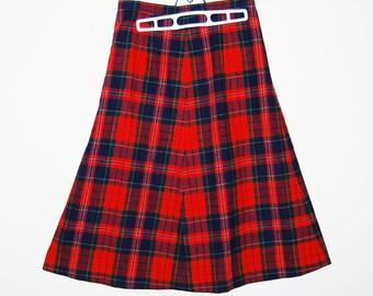 Pendleton Vintage Red Plaid Wool Skirt