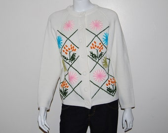 Vintage Sweater Garden Flowers on White