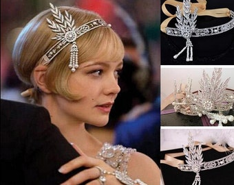 Gatsby headband Great Gatsby forehead band 1920s flapper Art Deco style wedding bridal hair accessories vintage headpiece