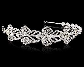 Art Deco Wedding headband tiara band GRECIAN Art Deco 1920s vintage style crystal wedding bridal hair accessories