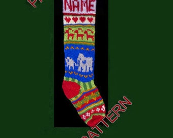 Hand knit Christmas stocking,  pattern only, elephant, tiny reindeer and heart