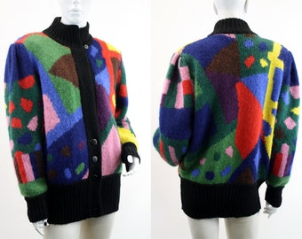 Insane Cool Abstract Print Cardigan Sweater by AZIZA