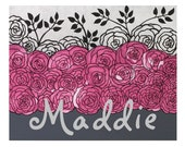 Baby Name Wall Art Custom Nursery Painting - Pink and Gray Roses on Canvas - Small 14X11 - MADE TO ORDER