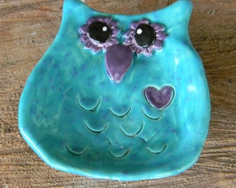 Owl Tea Bag Holder  or Ring Dish Jewelry holder ceramic  Ring bearer wedding  spoon rest ............ ready to ship